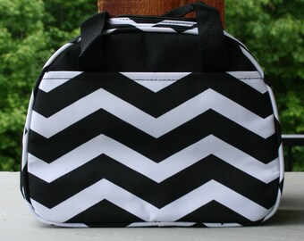 Girls Monogrammed Lunch Bag Black Chevron Insulated Cooler Tote