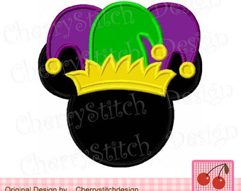 Embroidery design Mardi Gras Mouse head,Mardi Gras Mouse with Jester hat applique MM0077 -approximate 4x4 5x5 6x6 inch-Machine Embroidery