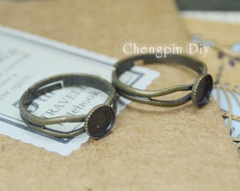 20pcs Antiqued Bronze Color Plated Adjustable Metal Rings with 8mm Gear Edge Cameo Settings