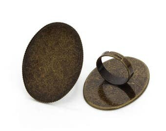 30x40mm Bright Silver Plated/Bronze Brass Oval Adjustable Ring Settings Blank/Base,Fit 30x40mm Glass Cabochons