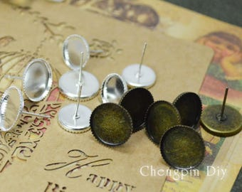 Round Earring- Brass Antique Bronzed Saw-Toothed Round Bezel Ear Studs, 8mm/ 10mm/ 12mm as your choice - Glass Cabochons