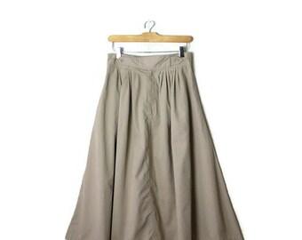 Vintage Light Beige/Oatmeal Flare Long Skirt from 1980's*