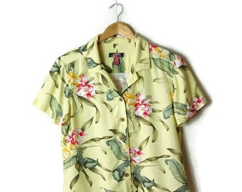 Vintage Pale Yellow Hawaiian Slouchy Blouse from 90's/Hawaiian Shirt*