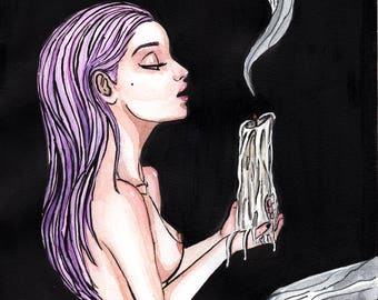 The Spell - Original Watercolor and Ink Painting **SALE**