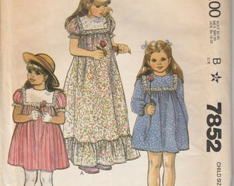 McCall's 7852  Size 7852 Uncut Vintage Girl's Dress Long Vintage Dress Easy To Sew Dress