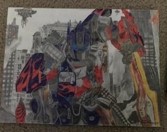 Transformers Optimus Prime Original Drawing by artist Jordan Kimpton