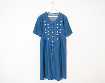 on sale - blue denim button-up midi dress / medium wash short sleeve floral dress / size L / XL