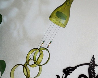 Glass Wind Chime, Recycled Amber wine bottle wind chime,  Sun catcher, Yard art, Patio decor, House warming