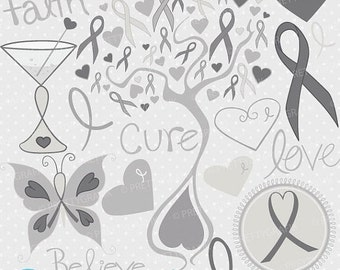 80% OFF SALE cancer clipart commercial use, vector graphics, digital clip art, digital images, brain - CL730