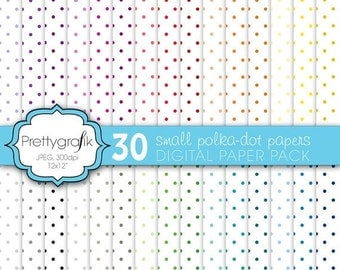 80% OFF SALE 30 polka dot digital paper, commercial use, scrapbook papers, background - PS580