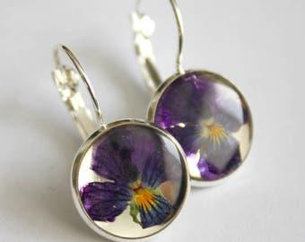 Pansy earrings, botanical earrings, silver earrings, flower earrings, resin and flower earrings, made in Canada