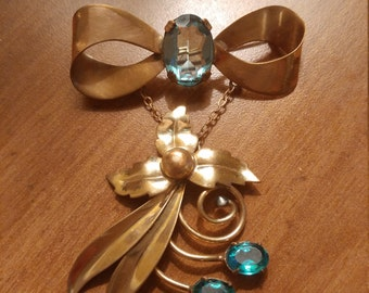 Beautiful Vintage 40s  M & S  1/20 12K Gold Filled  Scitarelli Creations By Phyills Blue Glass Stones  Long Dangle Bow Brooch