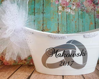 Bride and Groom Wedding Gift Basket, Oval Tub, Bridal Party Gift Basket, Fill it with goodies for the Bride and Groom