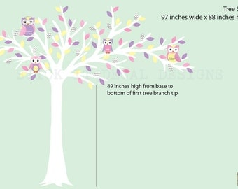 White Tree Owl Wall Decal, Blowing Tree Decal, Owl Nursery Wall Art, Owl Wall Decal, Blowing Tree Wall Decal, Pastel Bliss Design