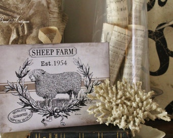 Vintage SHEEP FARM  Wood Sign Farmhouse Decor Grainsack Book Page Wall Art Print