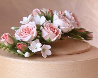 Hair alice band polymer clay flower.  Headband. wedding hair flower