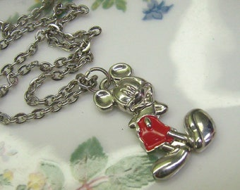 Vintage MICKEY MOUSE Silver Pendant/Necklace...Red Enamel...Disney Pendant...Mickey Mouse Jewelry