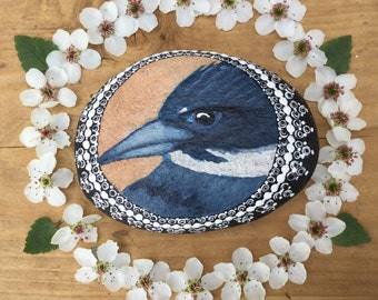 Kingfisher Bird Painting, Painted Stone, Painted Rock, Nature Art, Unique Gift, Gift for Dad, Birder Gift, Paperweight, Desk Ornament