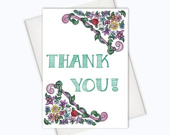 FLOWERY THANK YOU Card - Thanks Greeting Cards