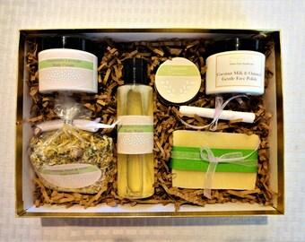 Chamomile-Lavender Spa Set-Unscented Spa Gift, Sensitive Skin Care, Natural Spa Gift, Organic Skin Care, Spa Gift For Her, Herbal Spa Gift