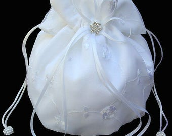 Bridal Money Bag, Bridal bag, Money bag, Wedding Money Bag, Bride Money Bag, Dollar Dance Bag, White Satin Purse, Ivory Satin Purse.