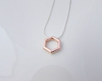 Hexagon Necklace, Rose Gold Hexagon, Geometric Necklace, Rose Gold Gifts, UK Seller, Girl Gifts, Minimalist Necklace, Rose Gold Jewellery