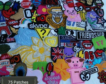 75 Cute patch lot. Iron on patches, sew on patches, appliques Random selection HUGE  patch lot