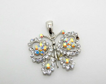 vintage crystal butterfly pendant