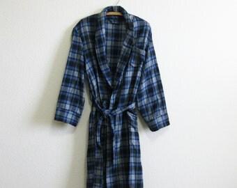 Blue Gray Plaid Robe Wool Medium Mad Men Robe