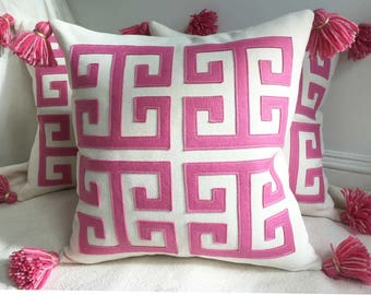 """Greek Key Pillow in Pink and Creamy White Twill with Tassels, 18"""" / large"""