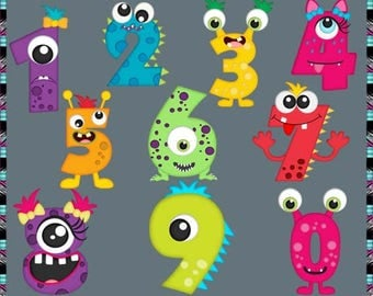 Cute Monster Numbers 2017, Monsters - Instant Download - Commercial Use Digital Clipart Elements Set