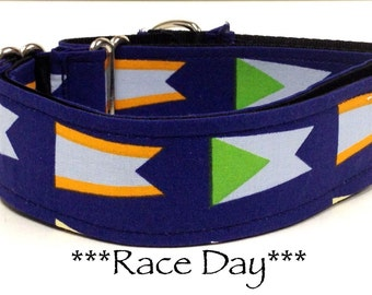 Martingale Dog Collar, Buckle Collar, Nautical Dog Collar, Blue, Nautical Flags, Race Day