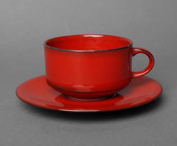 Villeroy boch granada cup and saucer red porcelain dark trim for Villeroy boch granada