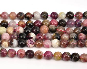 "17""  Natural  Tourmaline  Mix Color  Pink 8MM Round Bead"
