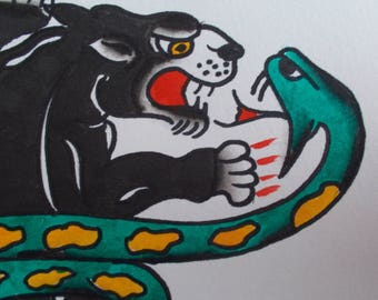 Traditional Tattoo Flash Painting,Tattoo Art,Original Tattoo,American Tattoo,Panther,Snake,Panther Tattoo,American Traditional,Old SChool