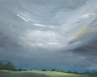 Landscape Painting English Countryside Plein Air Original Artwork Canvas Acrylic Clouds Grey Sky Green Hills