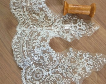 Sequined Bridal Lace in Ivory, Embroidered Alencon Floral Lace, Wedding Veil Edging Lace, DIY Bridal Gloves