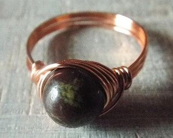 Dragon Blood Jasper Ring, Copper Ring, Wire Wrapped Ring, Copper Jasper Ring, Dark Stone Ring, Jasper Ring, Gothic Ring, Gift for Her