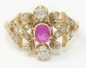 18K Antique Ruby Ring with Old European and Rose Cut Diamonds
