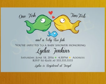 DIY Family Fish Baby Shower Invitation  Multiple Choices