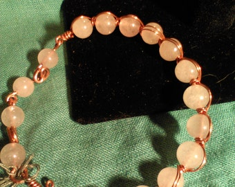 Rose quartz copper wire wrapped bangle and linked bracelet