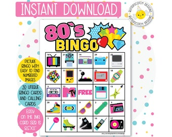 80s Retro Themed Printable Bingo Cards (30 Different Cards) - Instant Download