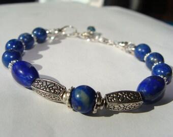 Lapis Lazuli, Sterling Silver and White Sapphire Bracelet