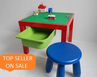 """LEGO® Table with Storage and Stool. Large 20""""x20"""" Green LEGO® Base Plate Building Surface on High Gloss Red Table.."""