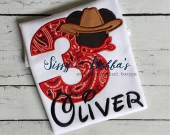 Personalized Mickey Cowboy Appliqué Shirt, cowboy, cowgirl, boy, girl, sibling, animal kingdom, cowboy mickey birthday shirt