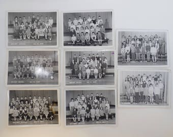 8 1960's Black & White Vintage Class Photographs 1964-1970 Elementary School-Jr. High