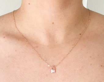 Rose Gold Pave Lock Necklace