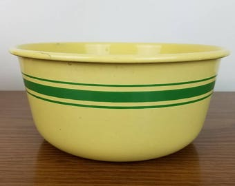 Vintage Yellow Enamelware Bowl with Green Stripes -Medium Enamel Fruit Mixing Bowl