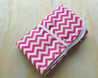 Pink and white chevron pattern wipeable baby change mat cover. change mat cover. nappy wallet change mat
