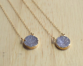 Sparkling Purple Druzy Necklace- Druzy Necklace- Gold Druzy Necklace- Genuine Druzy